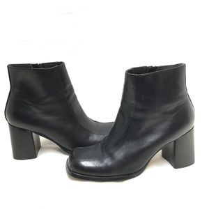 Prima Deacon Black Leather Chunky Heel Ankle Boots